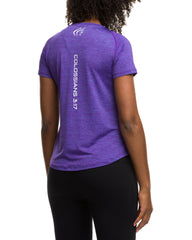 Purple White Performance Logo Shirt for Women - Active Faith Sports