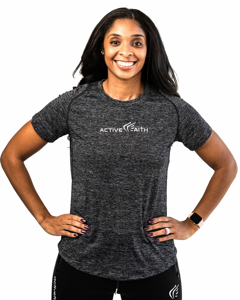 Women's Logo Performance Shirt, Charcoal Active Faith Sports