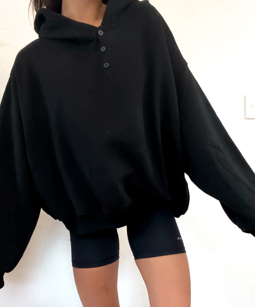 lounge button hood - black