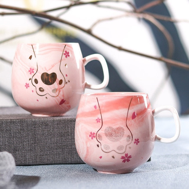 Ceramic Travel Cup Cute Cat Coffee Mugs