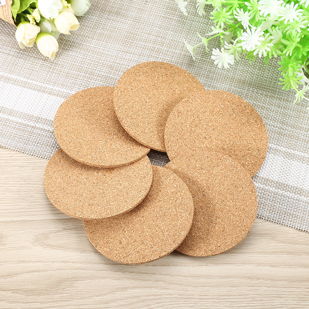 6 Natural Cork Coasters for Hot or Cold Coffees