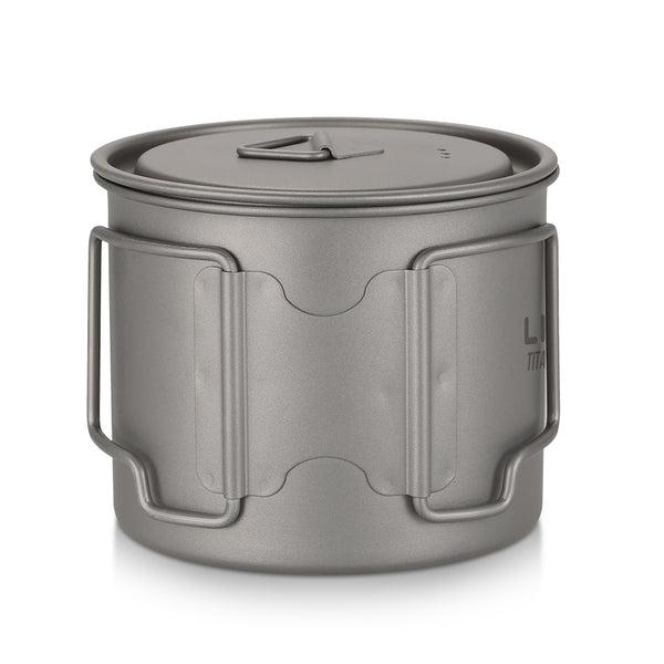 Titanium Coffee Mug for Hiking, Camping, and Overlanding with Lid and Foldable Handle