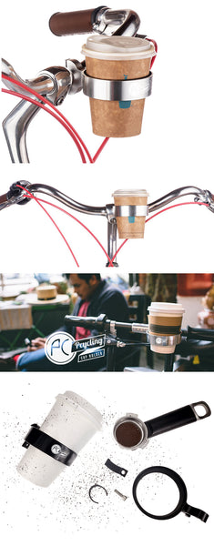 Bicycle Handlebar Coffee Cup Holder - Silver