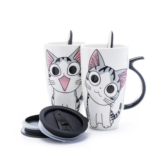 600ml Creative Cat Ceramic Mug With Lid and Spoon Cartoon