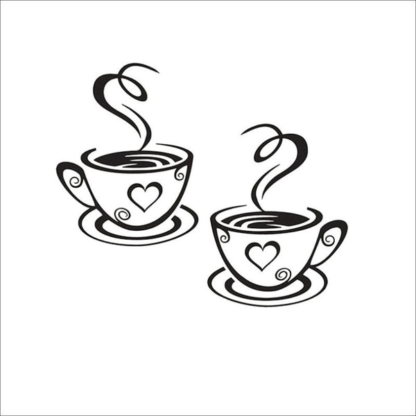 Doubly Cute Loving Coffee Cup Wall Decals