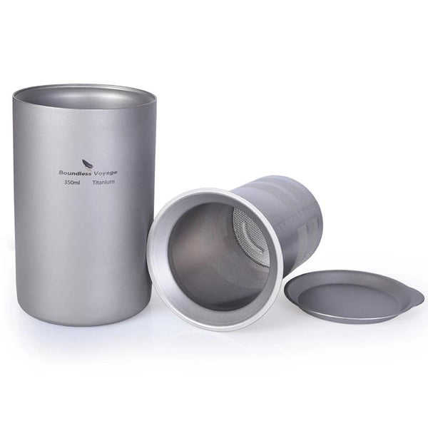 Boundless Voyage Titanium Coffee Tea Cup with Filter Outdoor Camping