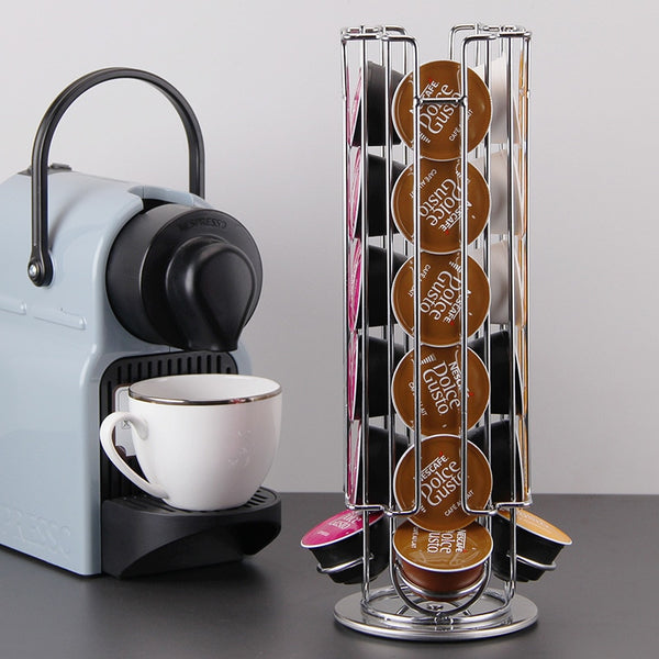 Compact Rotating 24 Count Nespresso Capsule Storage Rack (For Home and Business)