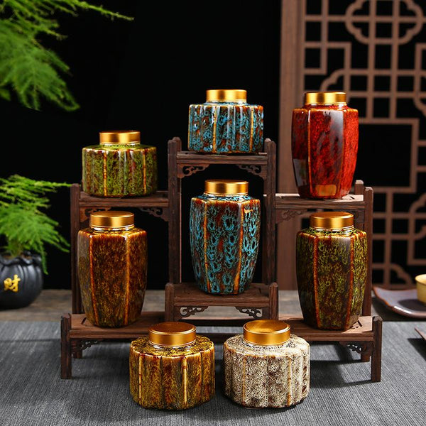 Vintage Chinese Tea Caddies Handprinted Tea Box