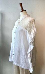 White macramè shirt FINAL SALE 50%Off REG $285.00