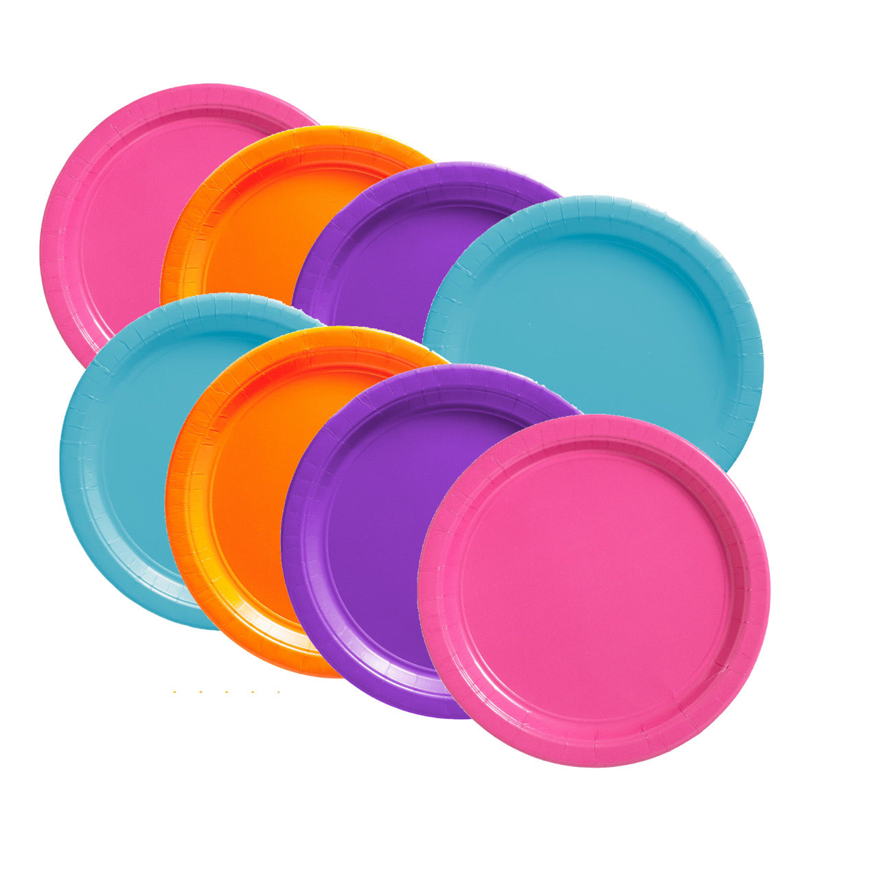 "Pink Purple Orange Teal 7"" Dessert Paper Plates, 8 piece"