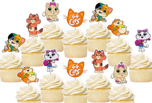 44 Cats Cupcake Toppers, Handmade
