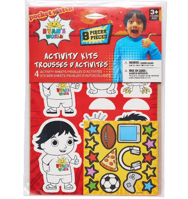 Ryan's World 8pc Activity Sheets Party Favors, Birthday Party Supplies