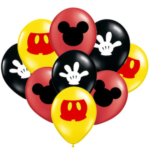 Classic Mickey Mouse Birthday Balloons, 8 , 16 or 24 pc
