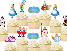 Load image into Gallery viewer, Alice In Wonderland Cupcake Toppers, Party Supplies