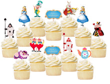 Load image into Gallery viewer, Alice In Wonderland Cupcake Toppers, Handmade