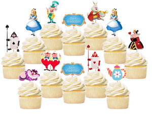 Alice In Wonderland Cupcake Toppers, Handmade