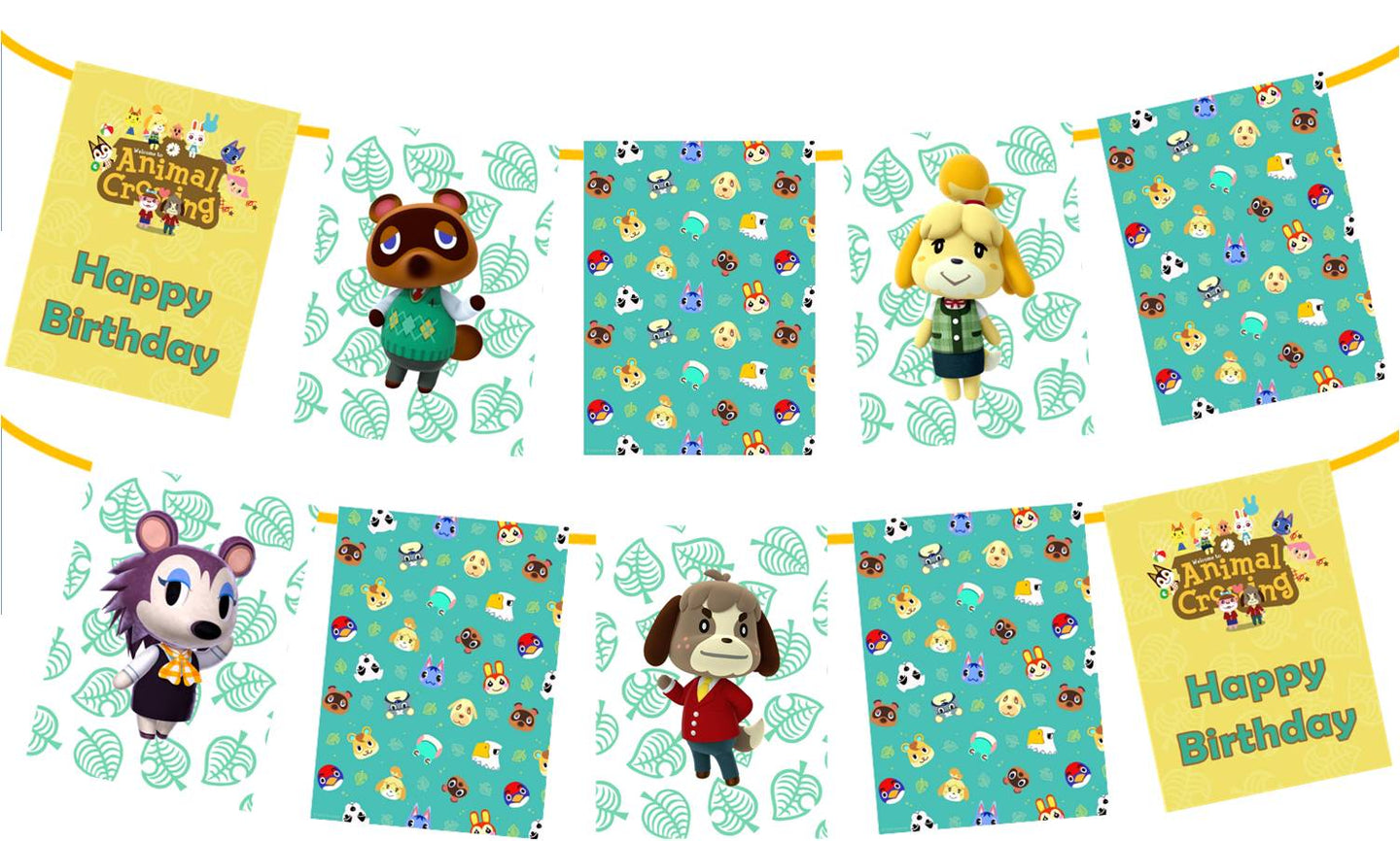 Animal Crossing Birthday Banner