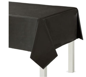 Black Plastic Rectangular Tablecover, 54x108""
