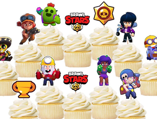 Brawl Stars Cupcake Toppers, Party Supplies, Cake Decorations