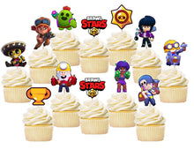 Load image into Gallery viewer, Brawl Stars Cupcake Toppers, Party Supplies, Handmade