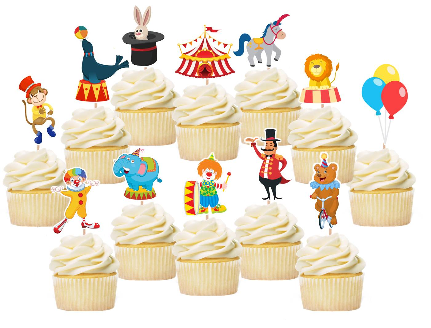 Circus cupcake toppers, cake decorations