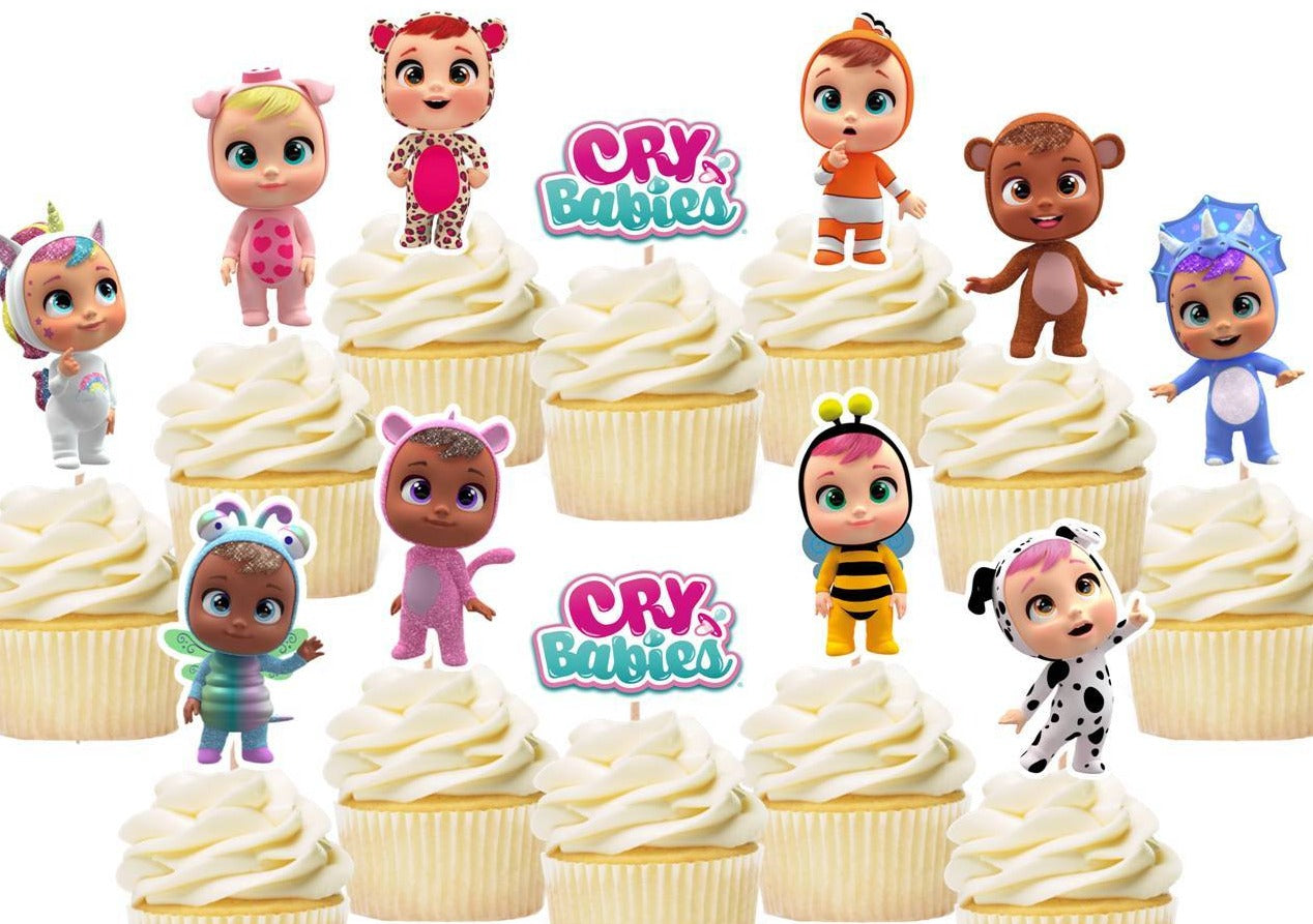 Cry Babies Cupcake Toppers, Handmade