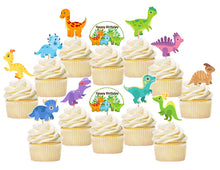 Load image into Gallery viewer, Baby Dino Dinosaurs Cupcake Toppers, Handmade