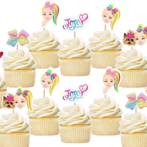 Jojo Siwa Cupcake Toppers, Jojo Siwa Birthday Party Supplies