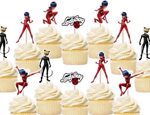 Miraculous Cupcake Toppers, Cake Decorations