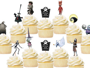 nightmare before christmas cupcake toppers, cake decorations