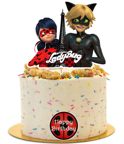 Miraculous and Noir Cake Topper, Cake Decorations