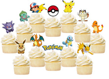 Load image into Gallery viewer, Pokemon Cupcake Toppers, Pikachu Toppers, Handmade