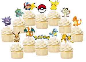 Pokemon Cupcake Toppers, Pikachu Toppers, Handmade