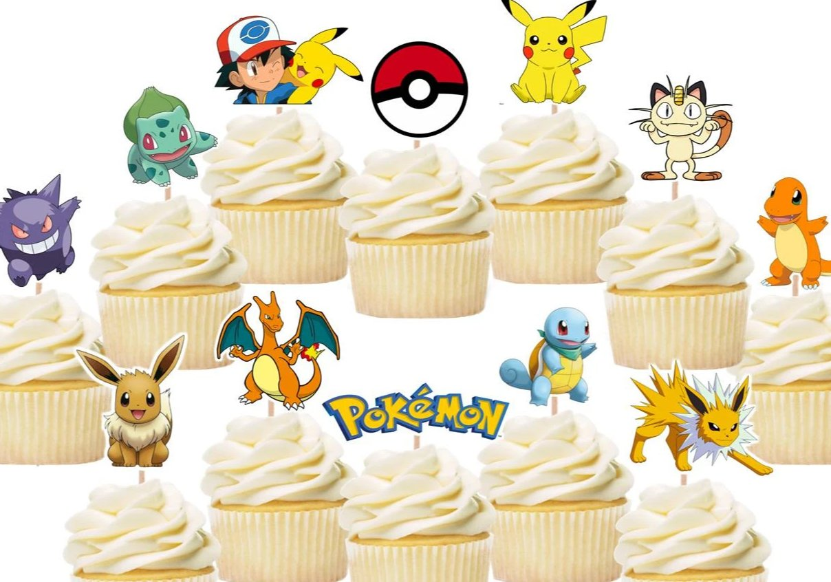 pokemon cupcake toppers, cake decorations