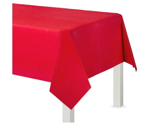 Red Plastic Rectangular Tablecover, 54x108
