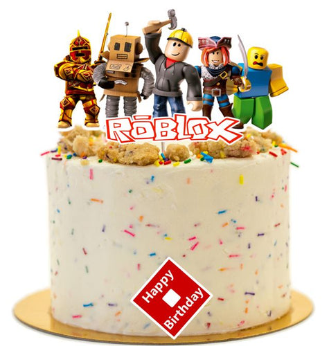 Roblox birthday cake topper, roblox cake decorations