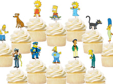 Load image into Gallery viewer, The Simpsons cupcake toppers, cake decorations