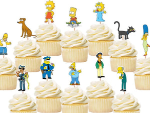The Simpsons cupcake toppers, cake decorations