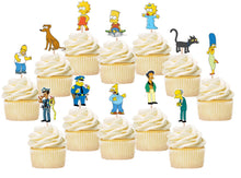 Load image into Gallery viewer, The Simpsons Cupcake Toppers, Handmade