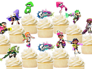 Splatoon cupcake toppers, cake decorations