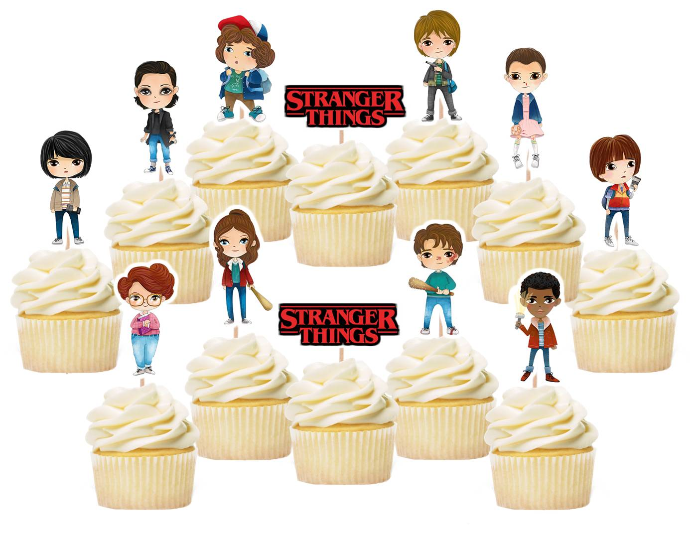 stranger things cupcake toppers, cake decorations