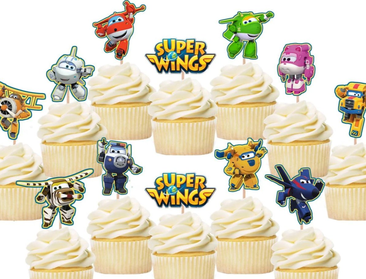 Super wings cupcake toppers, cake decorations
