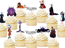 Load image into Gallery viewer, Disney Villains cupcake toppers, cake decorations