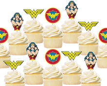 Load image into Gallery viewer, Wonder Woman Cupcake Toppers