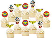 Load image into Gallery viewer, Wonder Woman Cupcake Toppers, Handmade