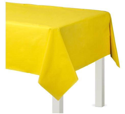Yellow Plastic Rectangular Tablecover, 54x108