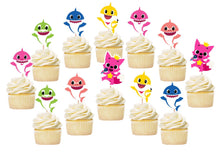 Load image into Gallery viewer, Baby Shark Birthday Cupcake Toppers, Baby Shark Birthday Party Supplies