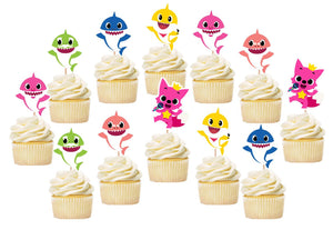 Baby Shark Birthday Cupcake Toppers, Baby Shark Birthday Party Supplies