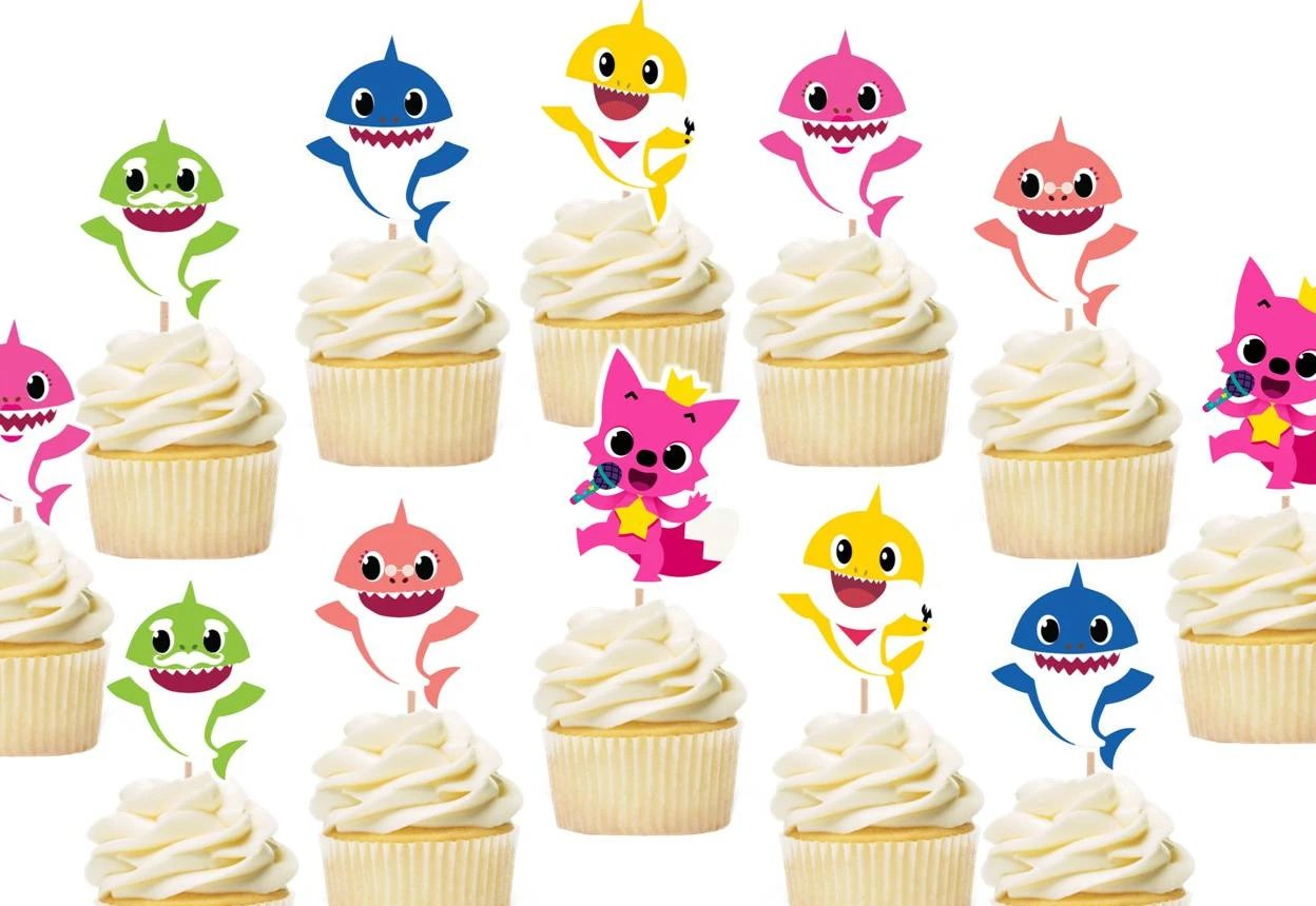Baby Shark Cupcake Toppers, baby shark cake decorations