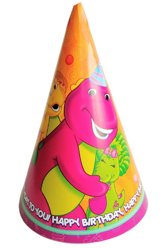 Barney Birthday Party Hats, 8ct